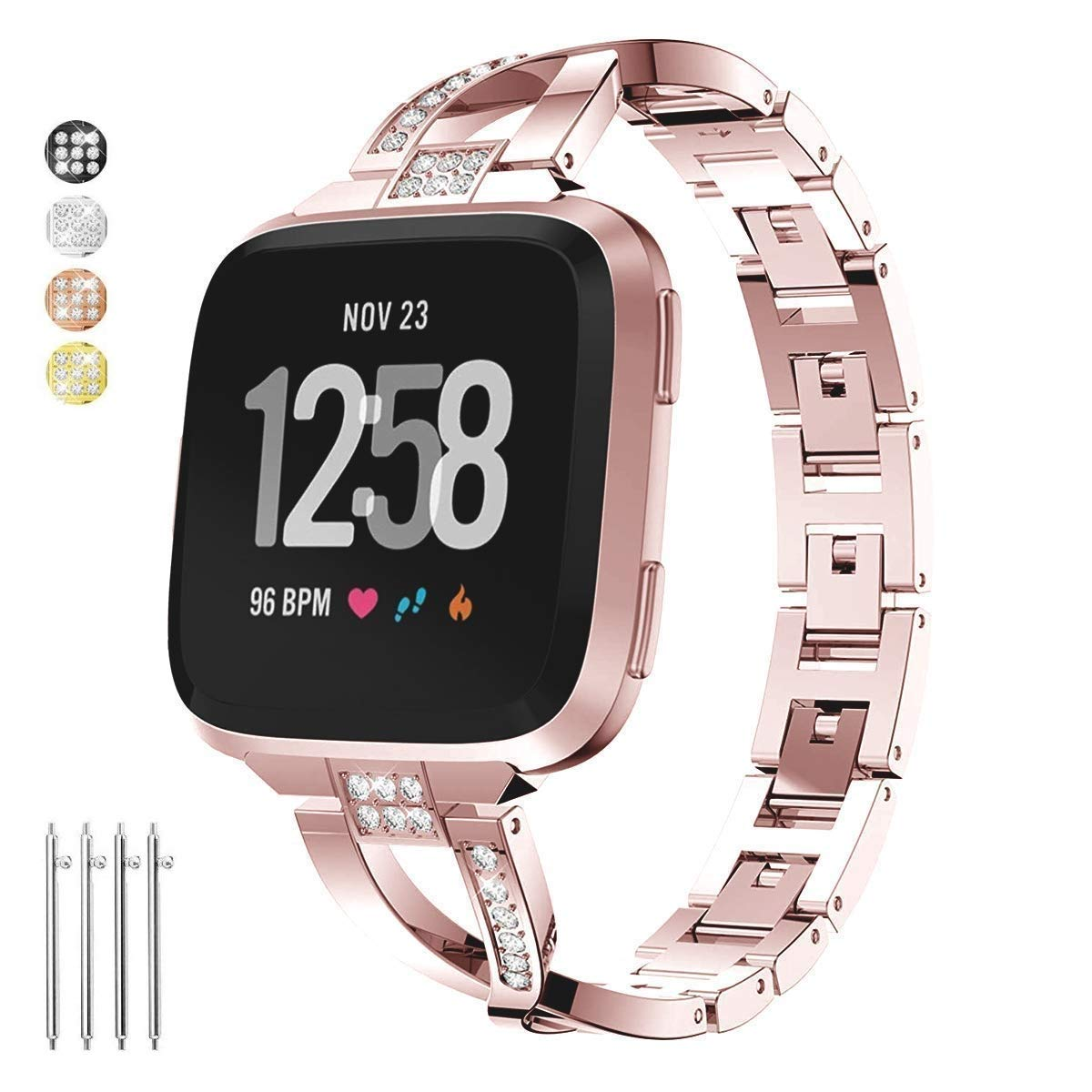 Taolla Compatible with Fitbit Versa Bands Women, Elegant Stainless Steel  Metal Replacement Bracelet Wristband X-Link Sport Smart Watch Strap + Bling