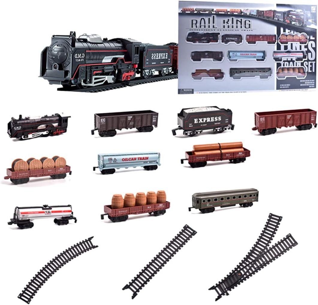 Polai Trenes Electricos Juguete, Mini Tren Eléctrico para Niños, Locomotora de Vapor, Juego de Trenes de Juguete con Sonido