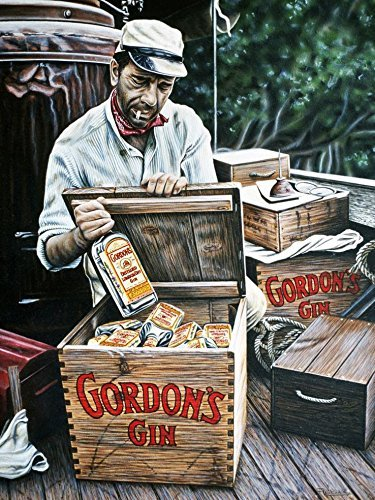 Bogart's Gordon's Gin by Darryl Vlasak 28x22 Art Print Poster African Queen Gin Wooden Crates London Dry Gin (Dry Extra Gin Dry)