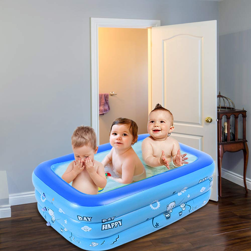 47.24x 27.56 x 13.7 for Outdoor Beach Summer Parties Blue Kiddie Pool Portable Inflatable Kids Pool Bathtub,Kid Toddler Infant Newborn Foldable Shower Pool,Travel for 0-36 Months Baby