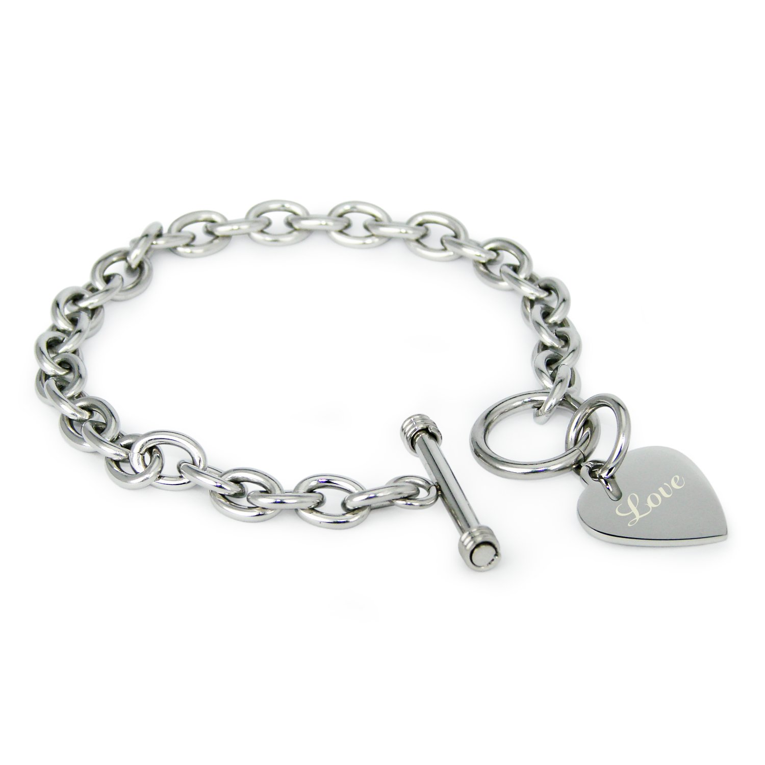 Tioneer Stainless Steel Engraved Love Heart Charm Bracelet and Necklace