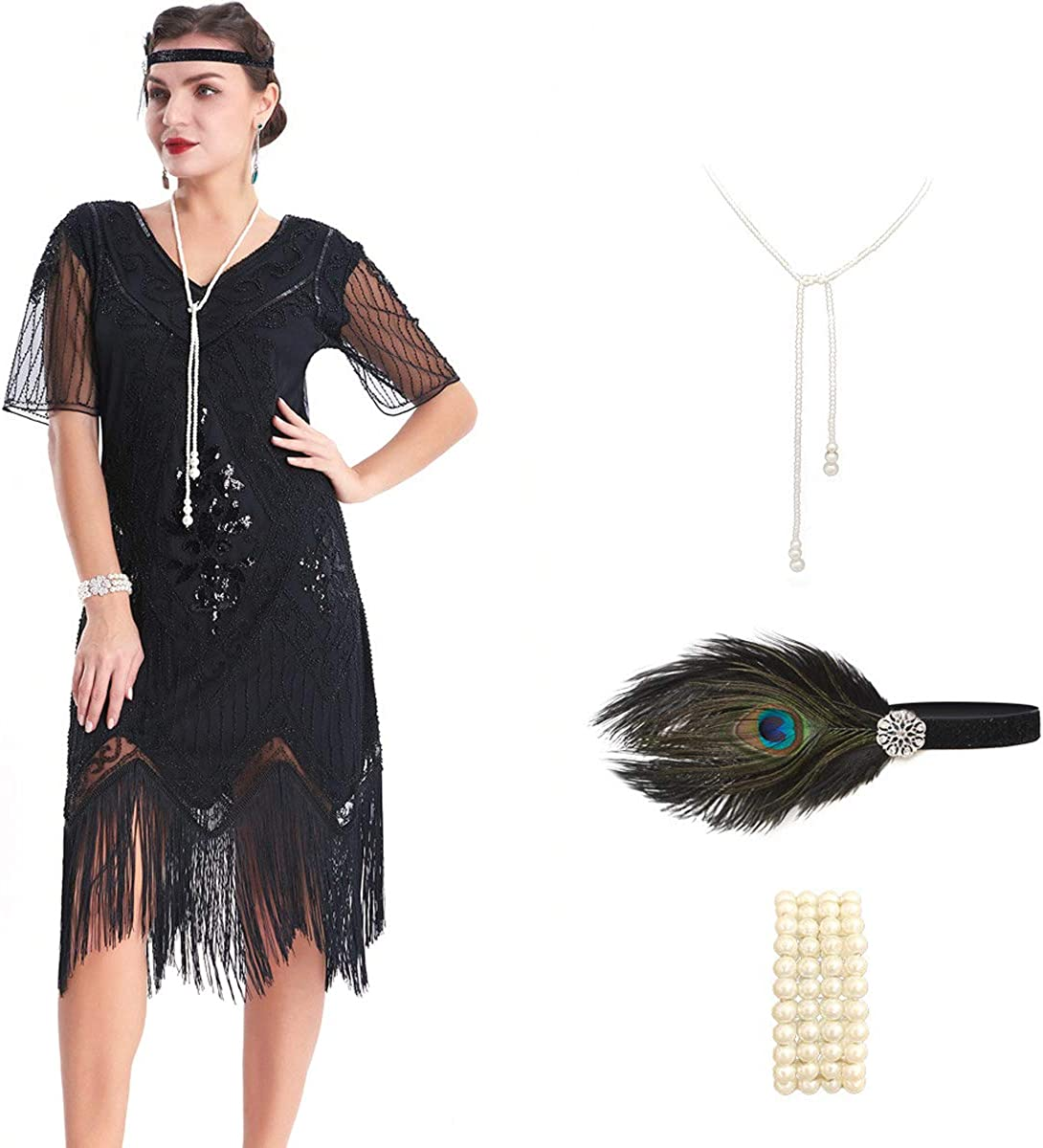 OKQ Womens 1920s Art Deco Fringed Sequin Dress 20s Cocktail Flapper Gatsby Costume Dress with 20s Accessories Set 18