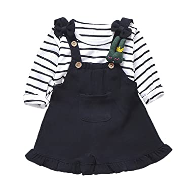 97662116b55f4 Clearance Sale Kids Baby Clothes Set Stripe T-Shirt Tops Suspenders Shorts  Pants 2 Pcs Outfit Children Clothing  Amazon.co.uk  Clothing
