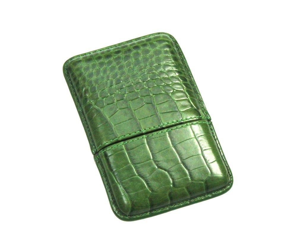 Lucrin Porte-cartes de visite Etui encastrable en cuir de veau Faç on Crocodile Vert Clair OS1063_CRO_VTC Porte cartes de visite