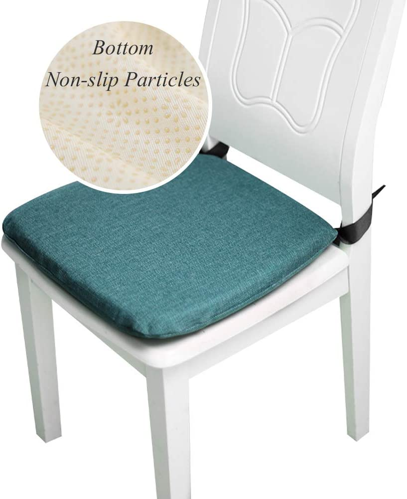 Yr Jy Non Slip Memory Foam Chair Cushion Set Of 4 Dining Chair Pads Square Soft Seat Cushions With Ties For Kitchen Chairs Office Chairs Grey
