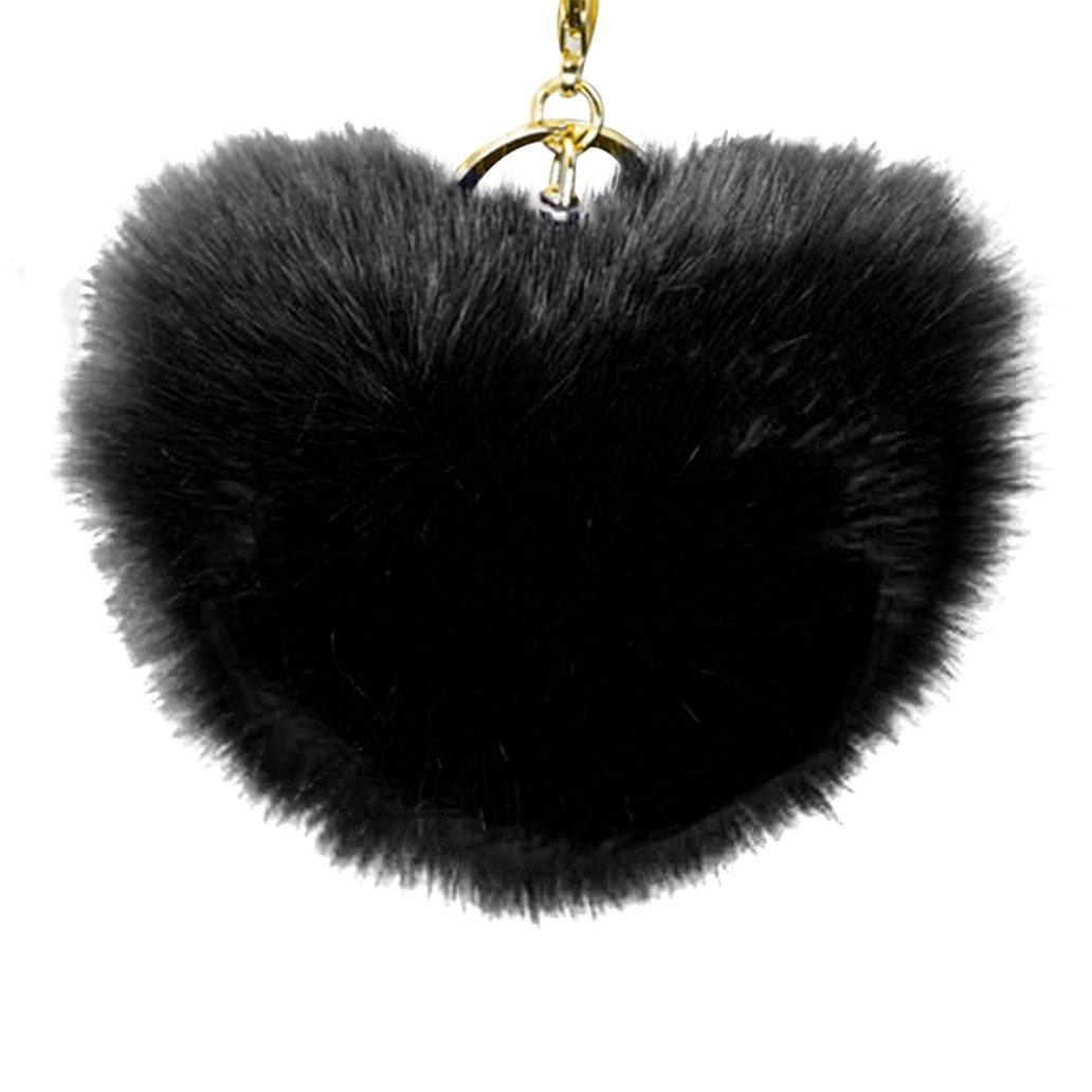 Amazon.com  Acamifashion Big Heart Shaped Soft Pom Pom Ball Keychain  Handbag Key Ring Women Gift - Black  Beauty baaa3331f0