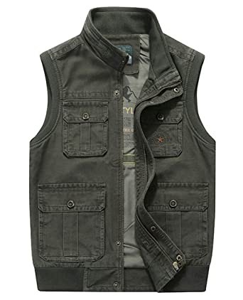 d532252b7c9c93 Men s Military Gilets Vest Outdoor Multi Pockets Sleeveless Jacket Top  Fishing Hunting Shooting Hiking (US