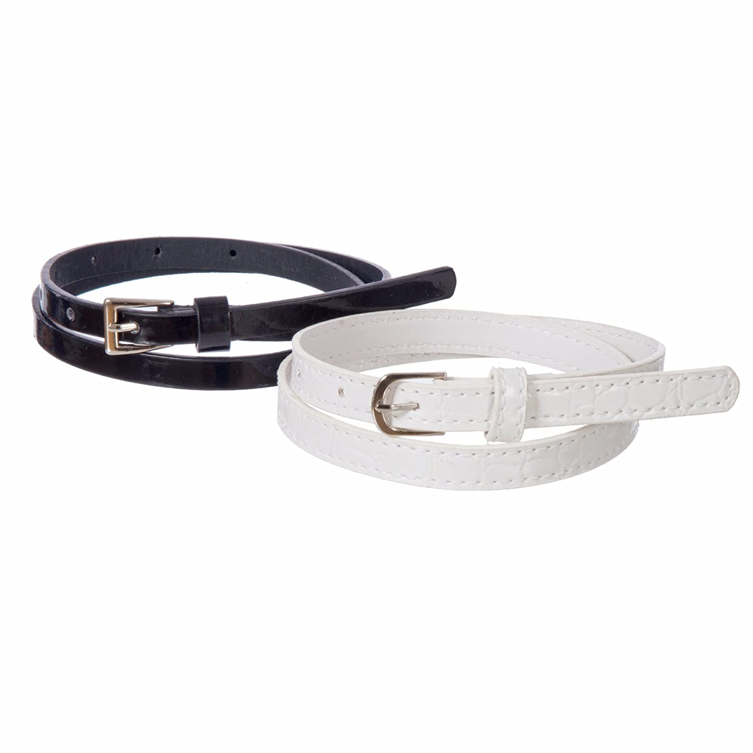 Sunny Belt Girl's 2-for-1 Shiny Black & White Skinny Belt KDC_SUN4_KIDS_12_BLKWHT_M