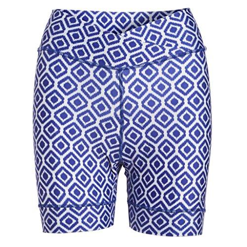 Women's Padded Bike Shorts with Pockets - Tummy Control Top High-Waist Cycling Short - Colorful Print Biking Shorts (Ikat Blue, Small) (Skirt Blu Spandex)