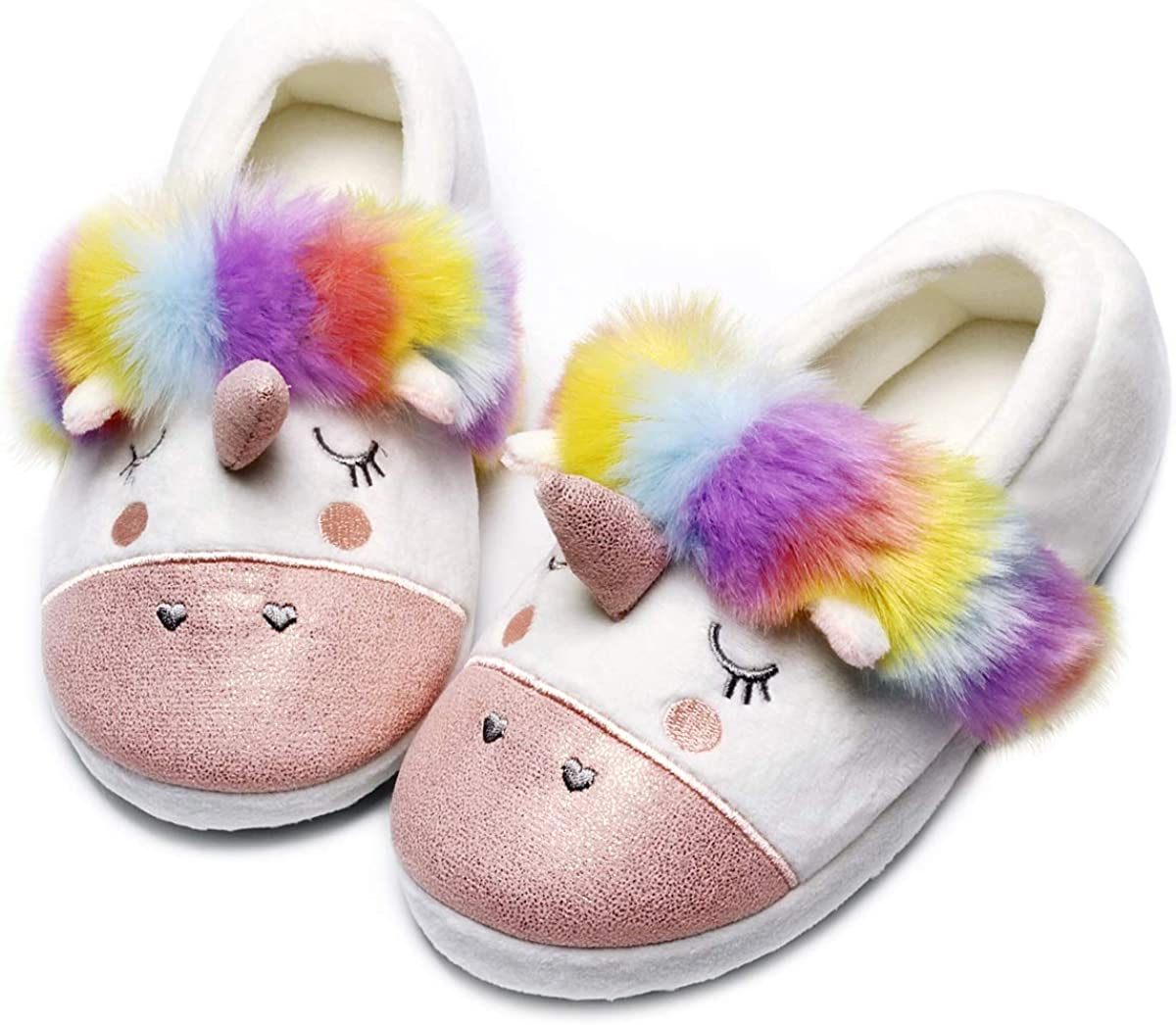Cute Women Unicorn House Slippers Animal Slip on Indoor Outdoor Shoes