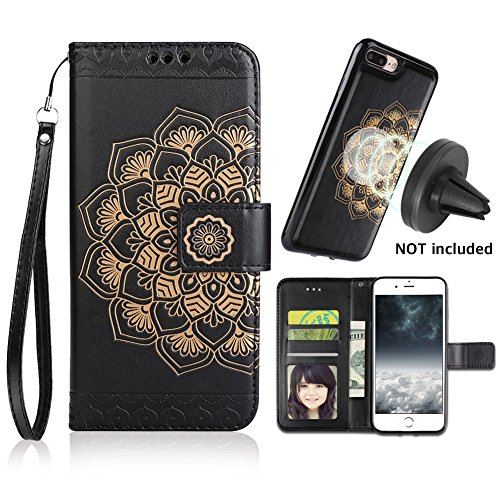 iPhone 8 Plus Case,iPhone 7 Plus Flip Embossed Leather Wallet Cases with Protective Detachable Slim Case Fit Car Mount,CASEOWL Mandala Flower Design with Card Slots, Strap for iPhone 7/8 Plus[Black]