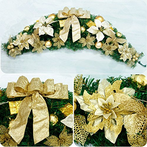 Christmas Garland for Stairs fireplaces Christmas Garland Decoration Xmas Festive Wreath Garland with Rattan Christmas rattan,120CM Christmas rattan by Caribou Furniture And Decor