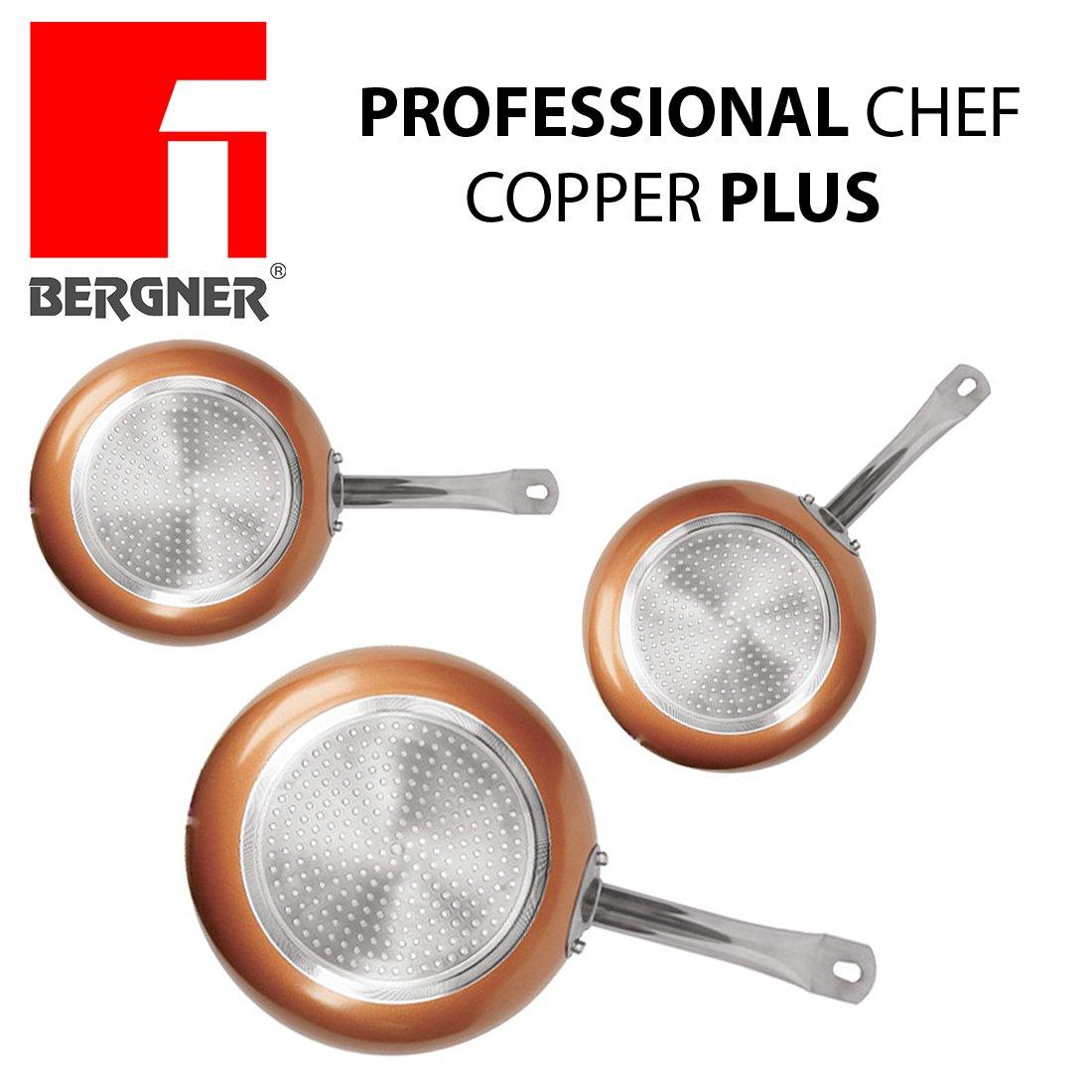 Original Chef Copper Plus - Juego 3 sartenes de cobre súper resistentes! Diámetro 18/22/26 Revestimiento antiadherente sin PFOA - sartenes de color red base ...