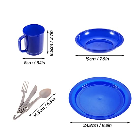 Provided Outdoor Camping 6 Pieces Tableware Set For 1-person Dinnerware Cutlery Plate Bowl Mug Fork Spoon Cutter For Camping Backpacking Camping & Hiking Outdoor Tablewares