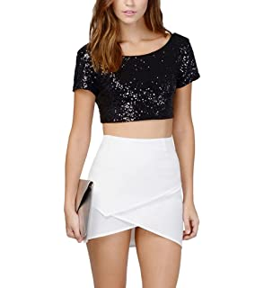 e6b534a298e6d Women s Glitter Sequins Backless Crop Tops Candy colors Short Sleeve T-shirt