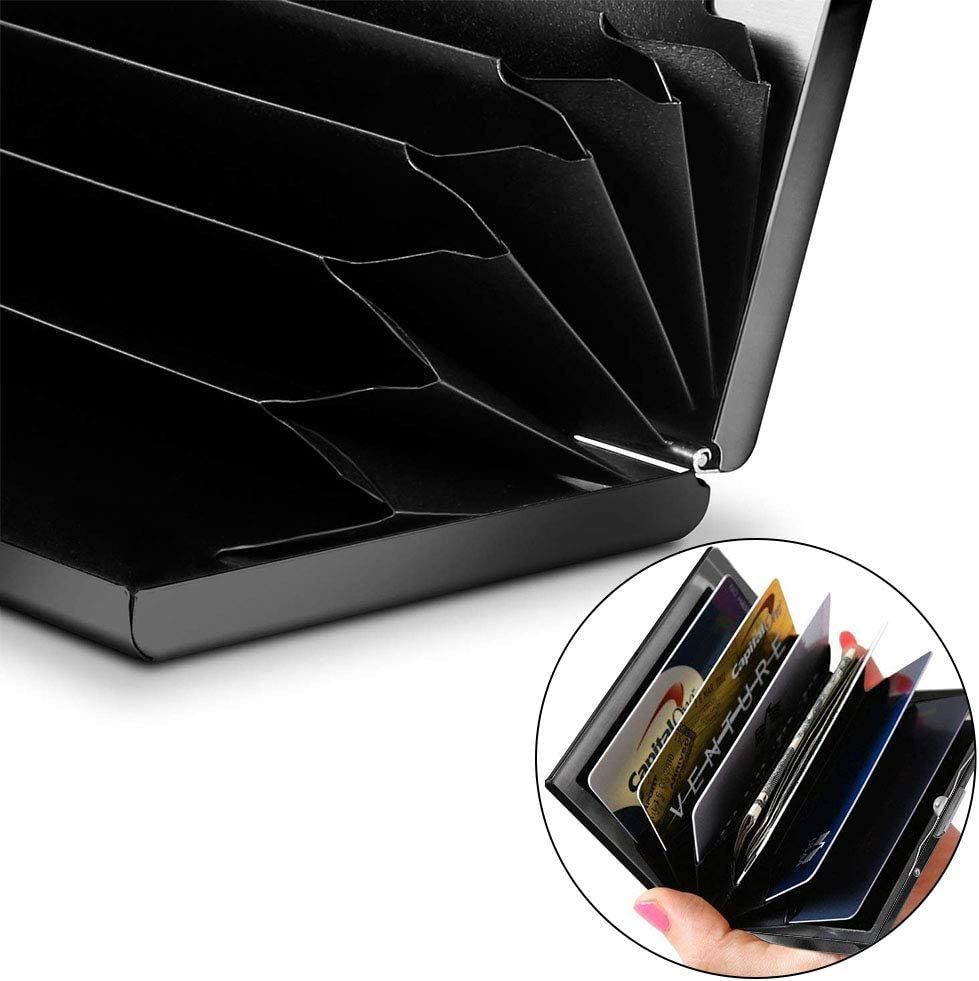 LAQI RFID Credit Card Holders Wallets//Cases with 6 Slot,Black Crown Skull Pattern Design Printed Contactless Stainless Steel Metal Credit Card Protector for Business Men,Ladies