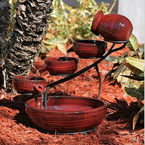 KandP Direct, Red Ceramic 5-Tier Hand Painted Outdoor Bird Bath Fountain with Solar Pump by KandP Direct