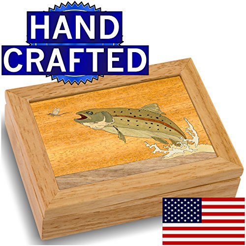 Wood Art Trout Box - Handmade USA - Unmatched Quality - Unique, No Two are the Same - Original Work of Wood Art