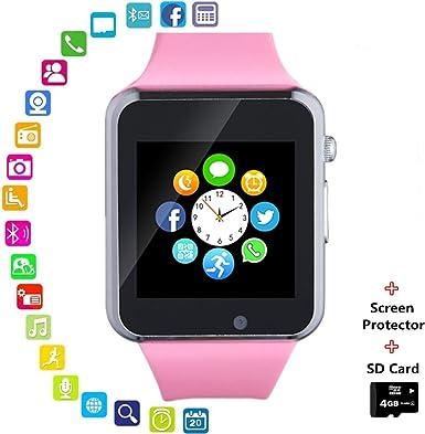 Bluetooth Smart Watch Teléfono con Ranura para Tarjeta SIM cámara podómetro Reproductor de música para Android Huawei Sony Samsung LG Hombres Mujeres niños: Amazon.es: Electrónica