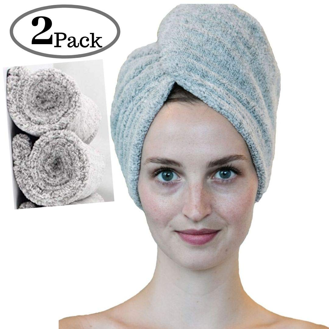 Zhenali Hair Drying Towel Wrap for women. Bamboo and Cotton Hair Towel for drying your hair naturally. Ultra- Soft, Super absorbent Bath Turban for thick, Long, short or curly hair. by Zhenali