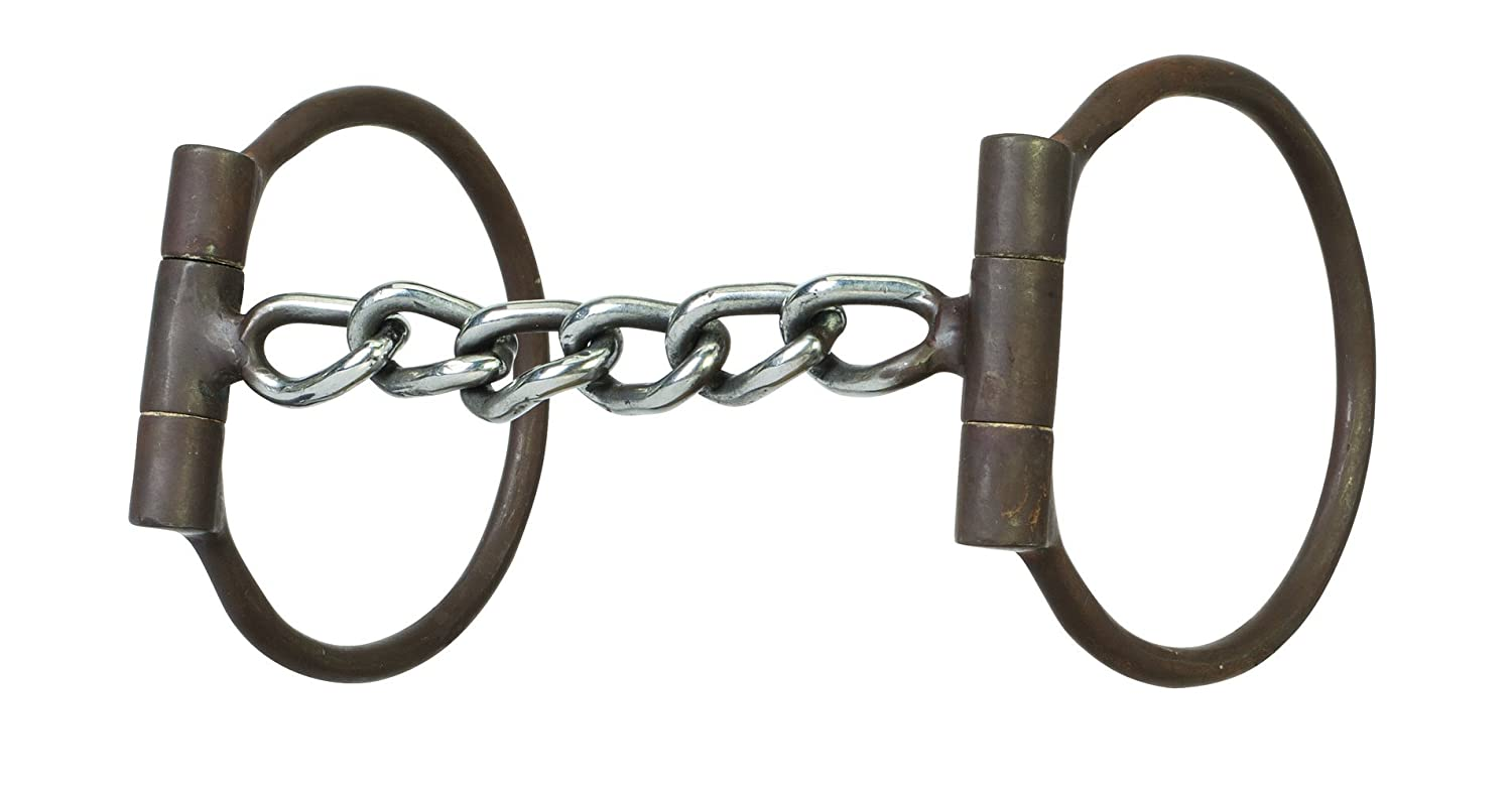 Weaver Leather 25-1906 All Purpose Offset Dee Bit with 5  Sweet Iron Polished Chain Mouth, Antiqued