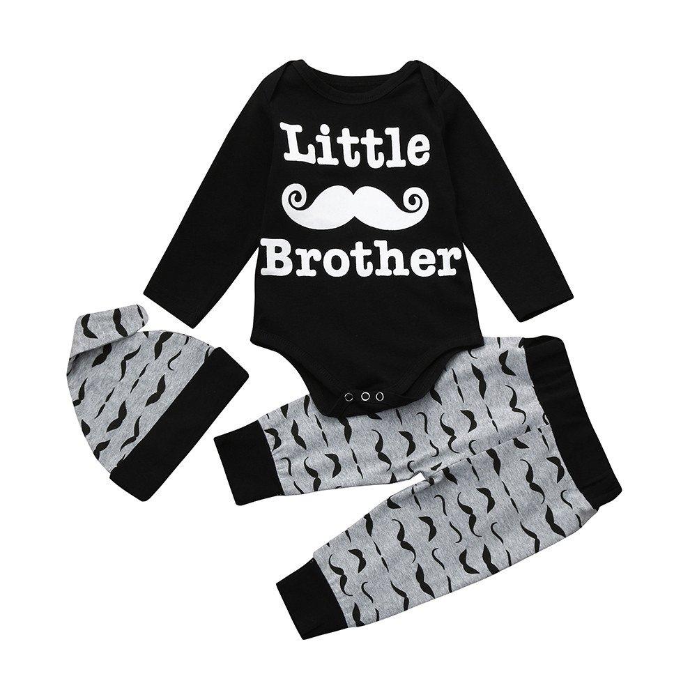 Askwho 3pcsSet Neonati bambini Baby Boys stampa Abiti Romper Cime Lunghe + Pantaloni + Cappello Set