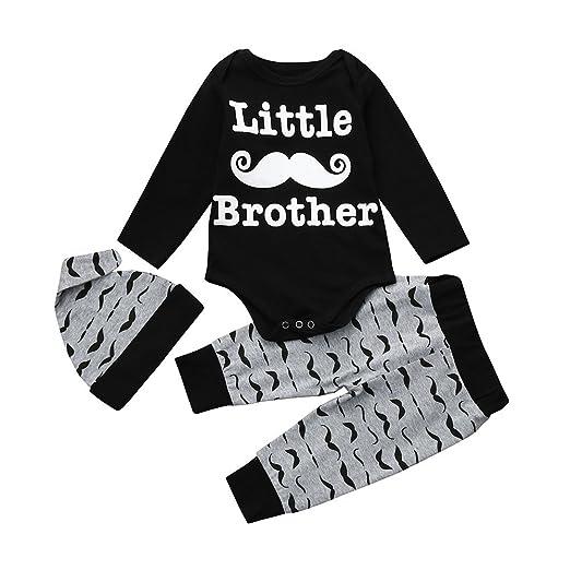 Amazon.com  Pumsun ❤ Newborn Kids Baby Boys Print Outfits Clothes Romper  Tops+Long Pants+Hat Set  Clothing a7b91616088c