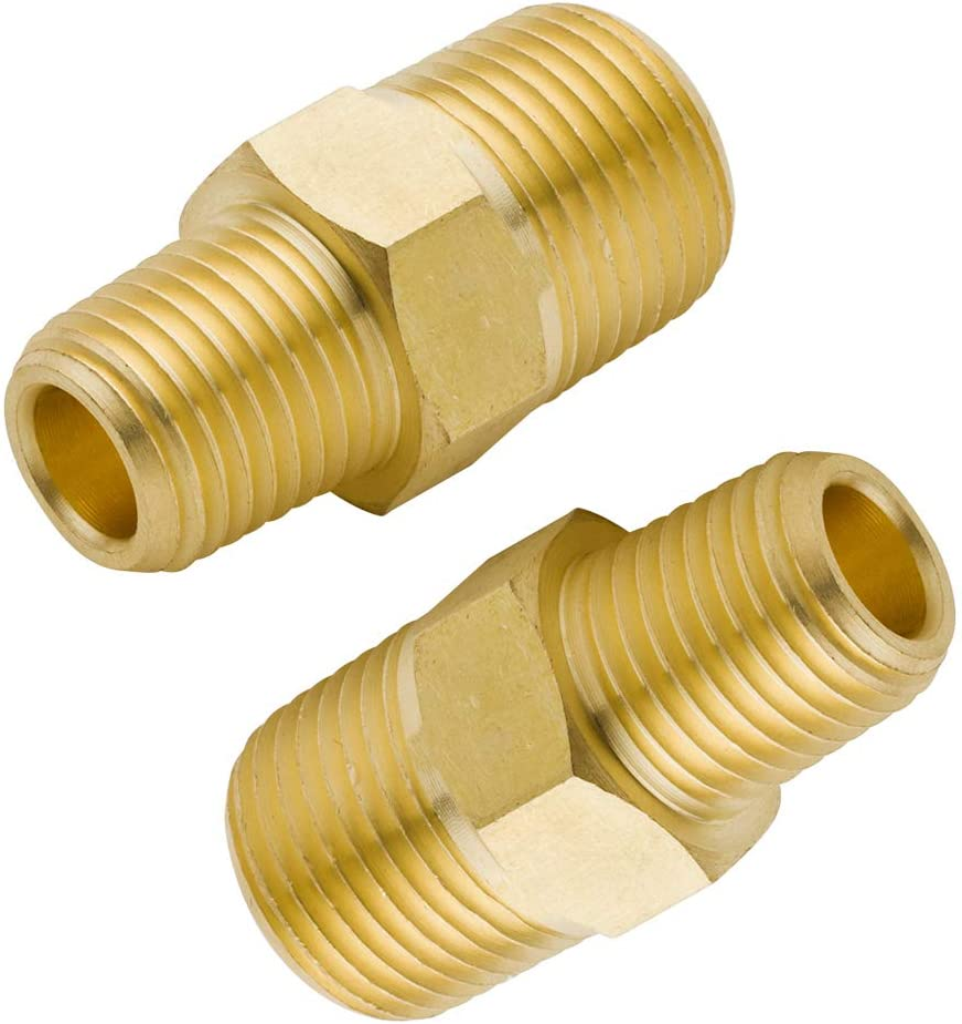 New StyLe Hex Nipple 3//4 NPT x 1//2 NPT Brass Hex Reducing Nipple Solid Brass
