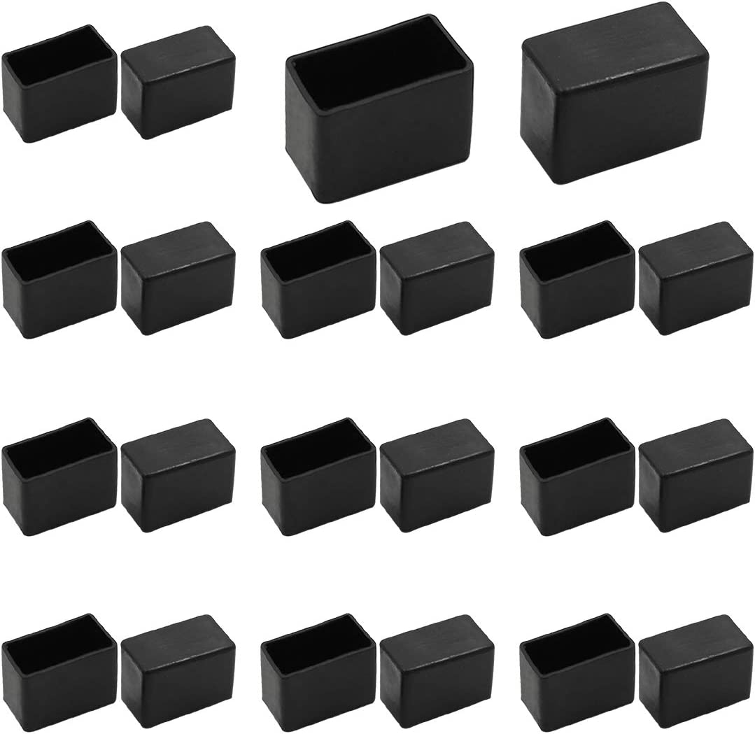 "Seimneire 20pcs Rectangle Chair Leg Caps, 1.2"" x 0.6"" / 30 x 15mm Anti-Slip Chair Leg Floor Protectors PVC Rubber Pads Furniture Table Feet Covers, Black"