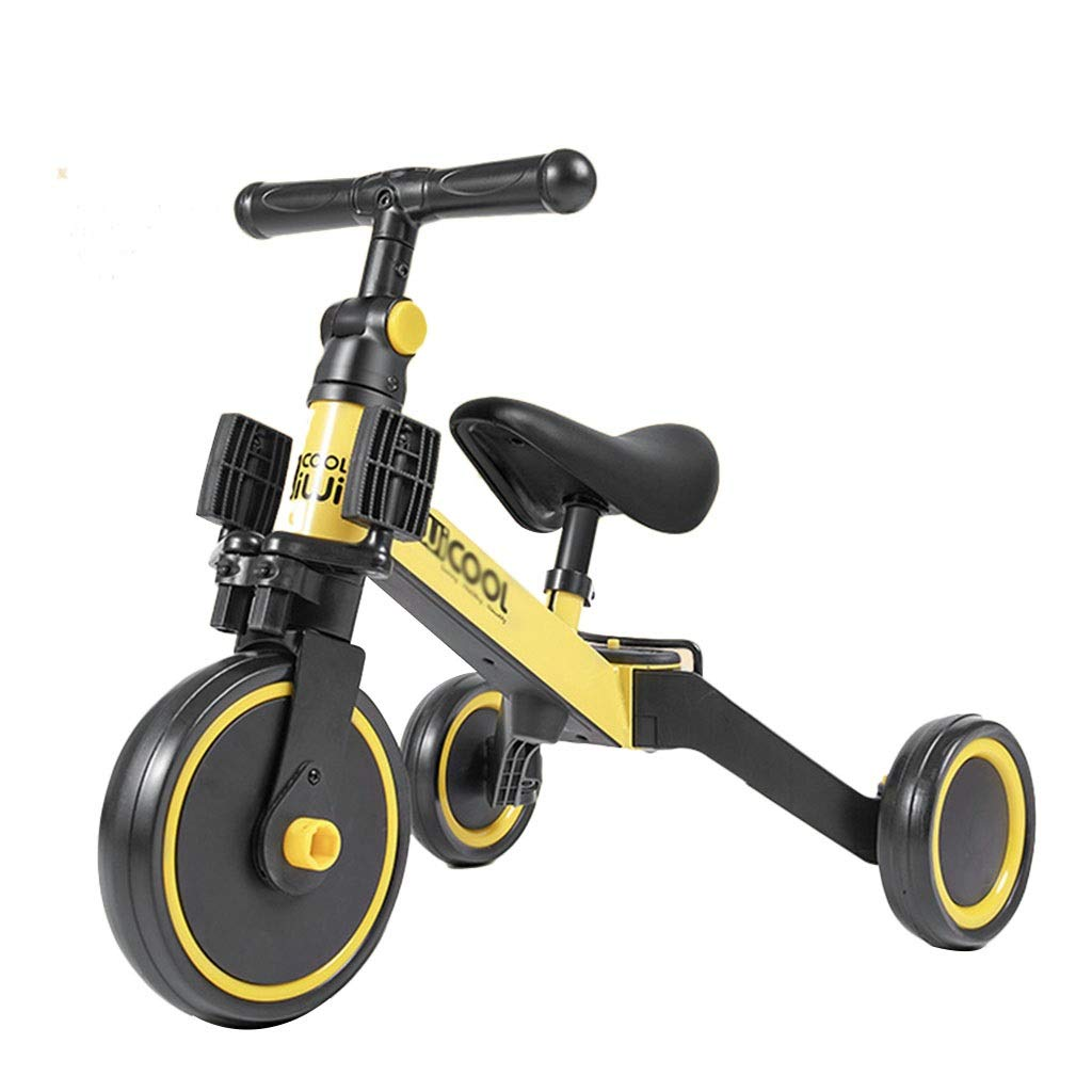 Xing Hua Shop Stroller Toys Children's Bicycle Tricycle Household Folding Children's Bicycle Children's Walker 1-6 Years Old Trolley Seat, Handle Height Adjustable (Color : Yellow, Size : 604550cm)