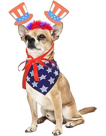 1492b29302 4th of July Dog Costume Set,Dog Anmerican Flag Bandana and Patriotic  Headband for Dogs