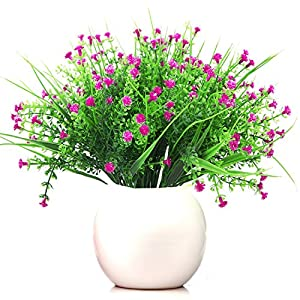 Turelifes 4 pcs Artificial Plants 5 Branches Baby's Breath Flowers Real Touch Plastic Shrubs Fake Gypsophila Flowers for Home Wedding Decoration Not Include Pot 59