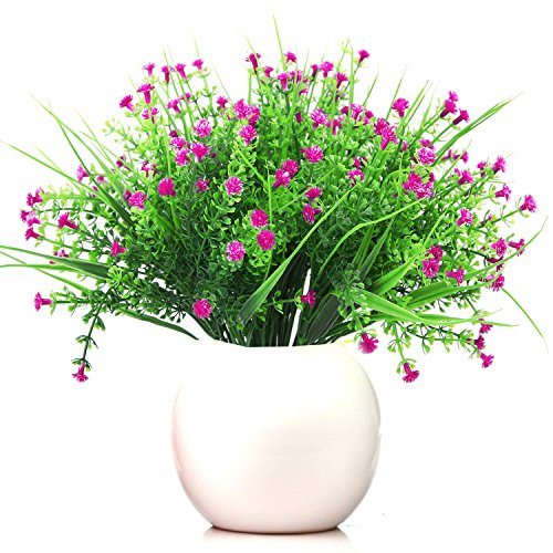 Turelifes 4 pcs Artificial Plants 5 Branches Baby's Breath Flowers Real Touch Plastic Shrubs Fake Gypsophila Flowers for Home Wedding Decoration (Light purple)