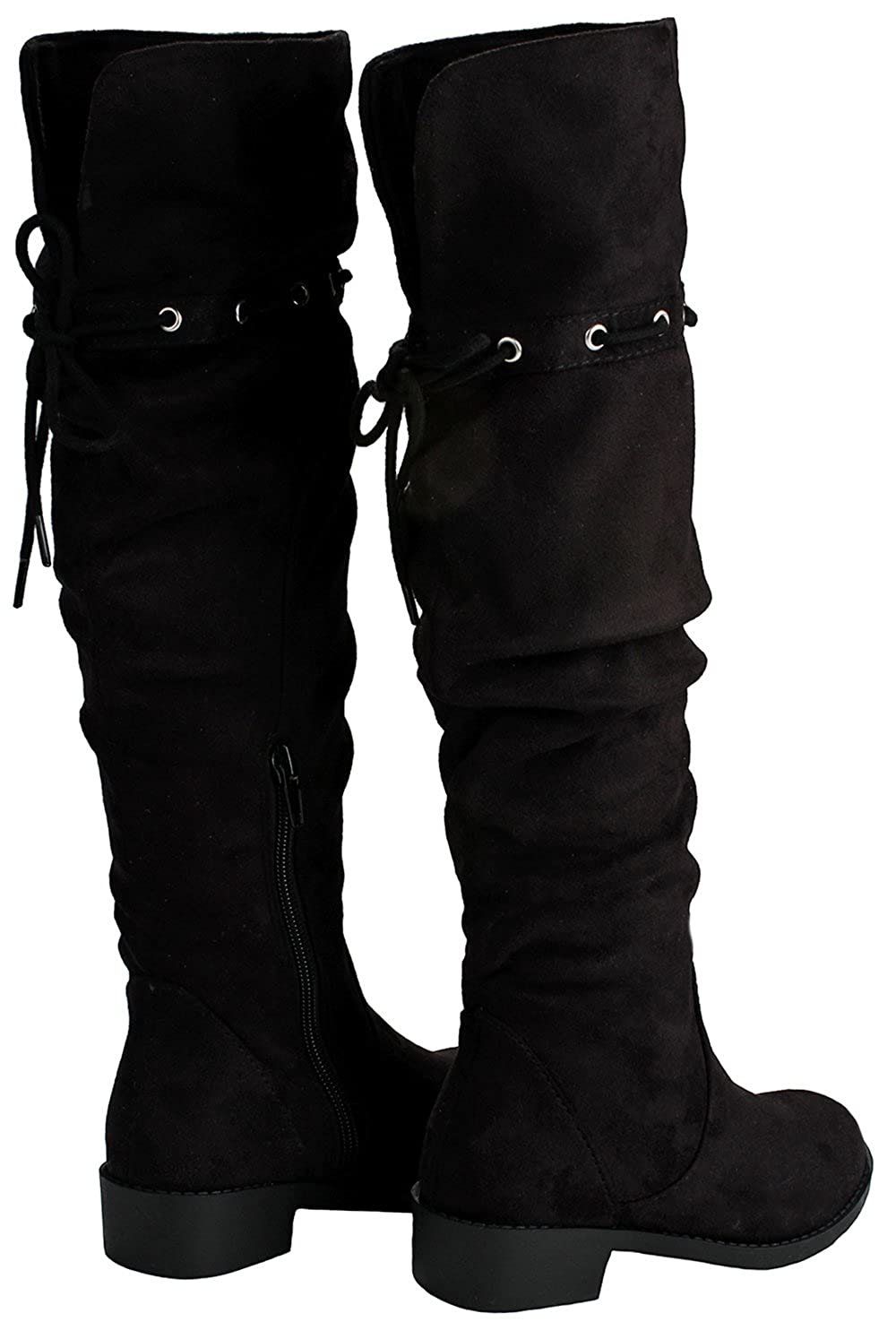 JJF Shoes Kids Girls Slouchy Drawstring Lace-Up Cuff Round Toe Faux Suede Over The Knee Flat Boots