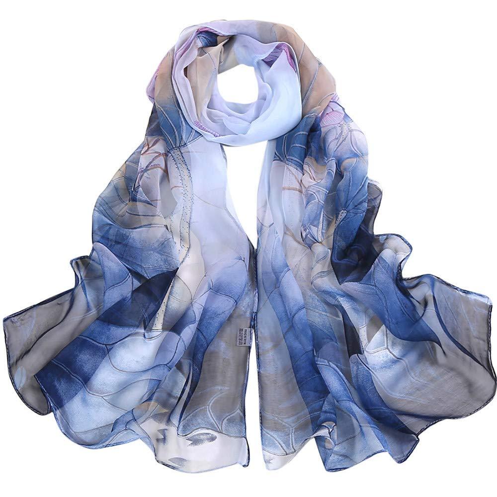 Clearance Silk Scarf for Women,WUAI Christmas Fashion Lotus Printing Long Soft Wrap Scarf Ladies Shawl Scarves(Blue,Free Size)