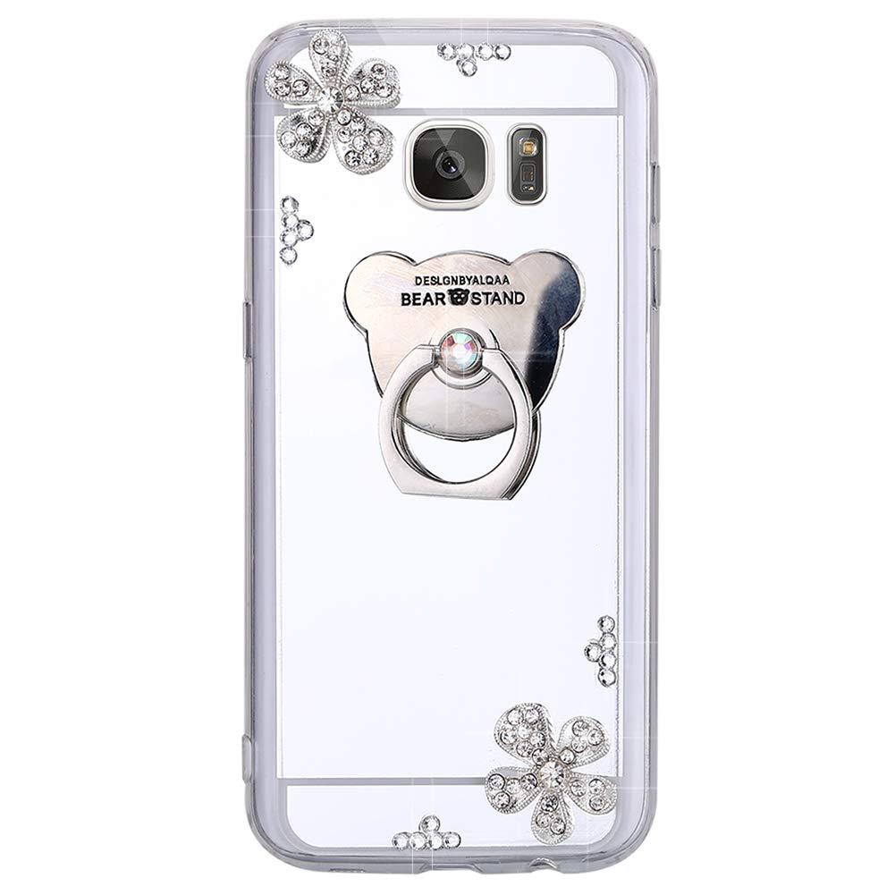 ISAKEN Custodia Galaxy S7 Flip, Cover Samsung Galaxy S7 Morbido Silicone TPU Bumper Ultra Sottile Specchio Cover Glitter Bling Cover Caso con Diamante [Ring Holder], Oro #1 FASNO031697