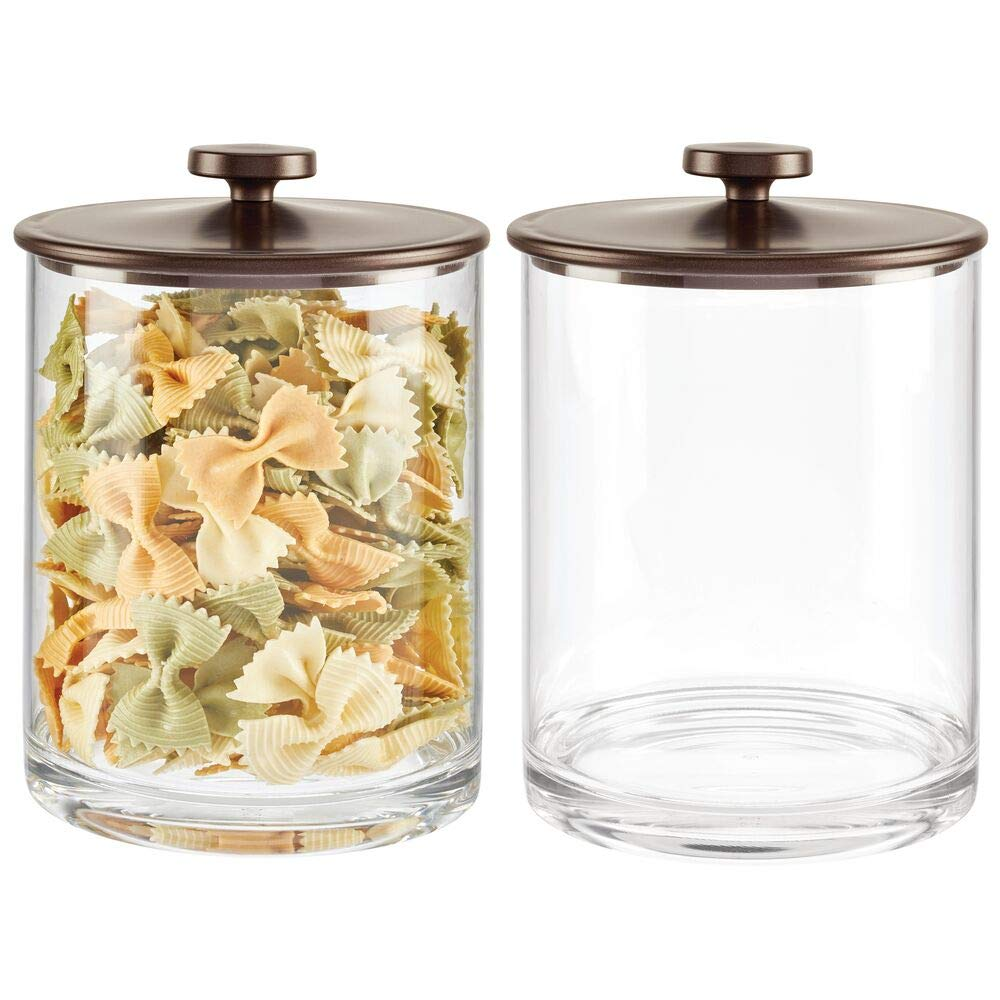mDesign Modern Round Kitchen Countertop Storage Organizer Canister Jar for Sugar, Flour, Tea, Coffee, Spices, Candy, and Beans, 2 Pack - Clear/Bronze