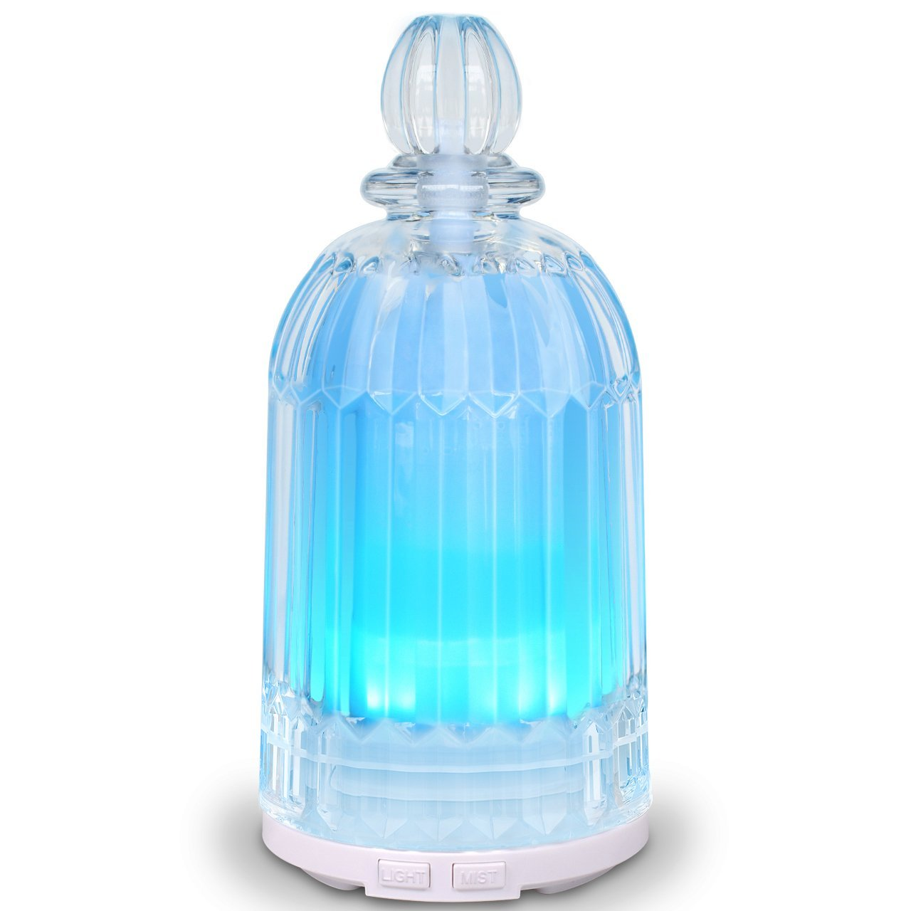 COSVII 120ML Glass Oil Diffuser Elegant Perfume Bottle Design, Ultrasonic Aromatherapy diffuser for Essential Oils, Quiet Cool Mist Humidifier with 7-color LED Lights &Auto Shut-Off Function
