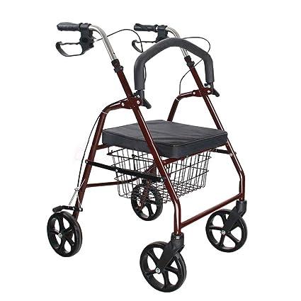 Walker Walking ayudas carrito de compras vino rojo acero carbono andador altura ajustable plegable de cuatro