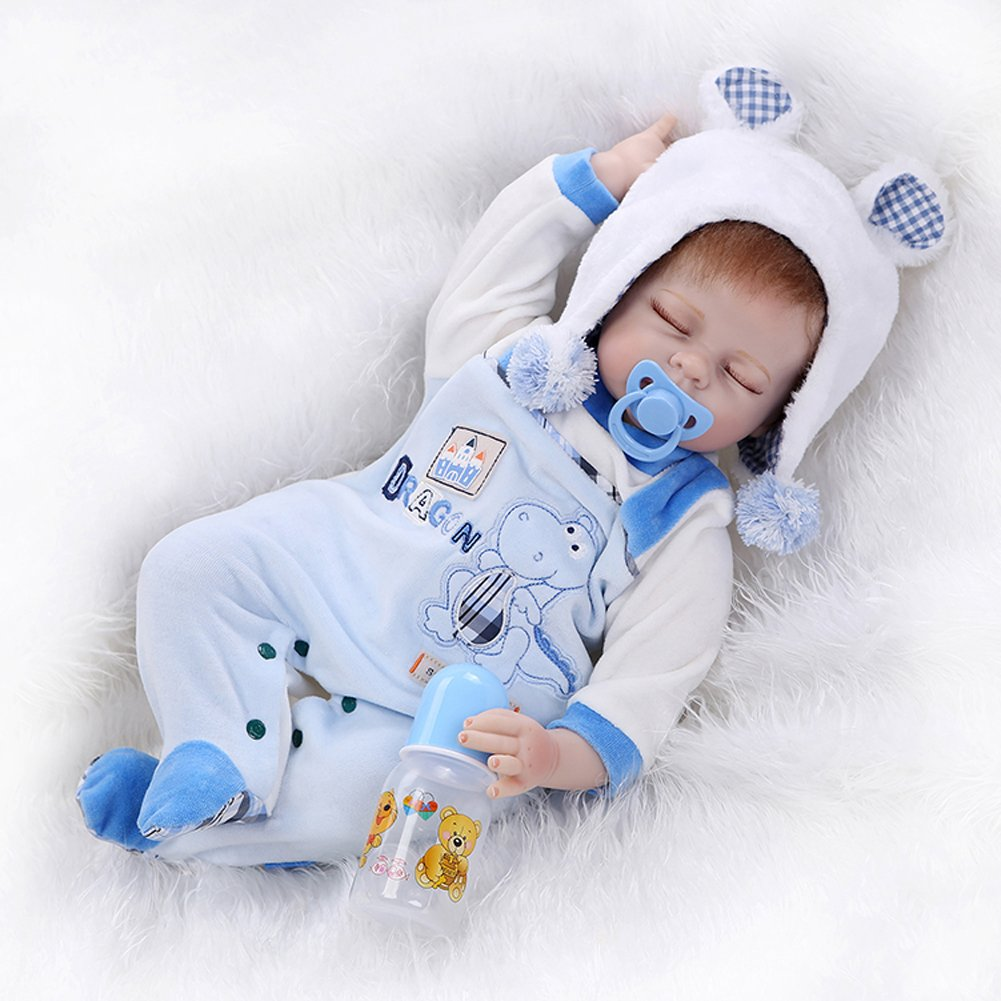Amazon com real life reborn sleeping baby silicone boy alive doll toys shooting props22 inch toys games