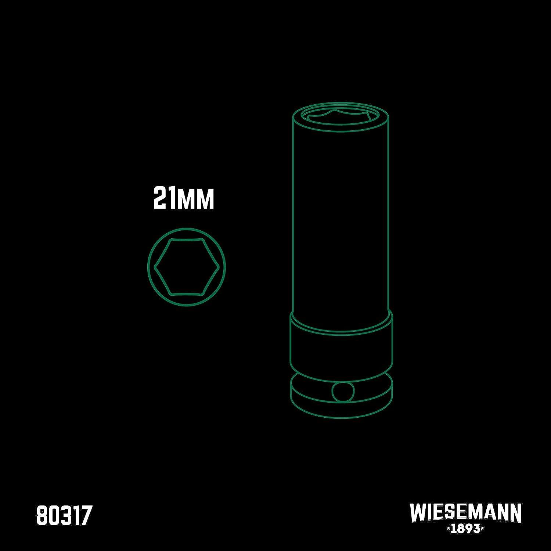 Kraft-Schoneinsatz 21mm f/ür Alu-Felgen I WIESEMANN 80317 I F/ür Schlagschrauber I Kraft-Steckschl/üssel-Satz I Schonn/üsse I Impact Socket I 0,5 Zoll