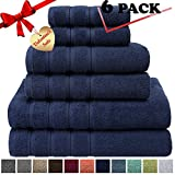 Premium, Luxury Hotel & Spa, 6 Piece Towel Set, Turkish Towels 100% Cotton for Maximum Softness and Absorbency by American Soft Linen, [Worth $78.95] (Navy Blue)