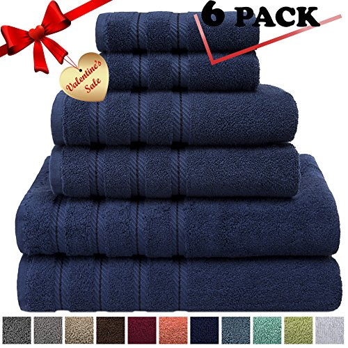 Satin Polished Soap Dish - Premium, Luxury Hotel & Spa, 6 Piece Towel Set, Turkish Towels 100% Cotton for Maximum Softness and Absorbency by American Soft Linen, [Worth $78.95] (Navy Blue)
