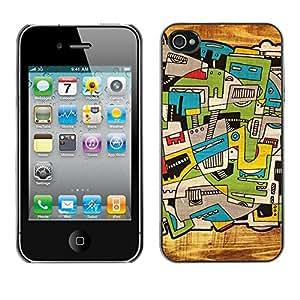 Cubierta de la caja de protección la piel dura para el Apple iPhone 4 / 4S - city art trippy deep artsy