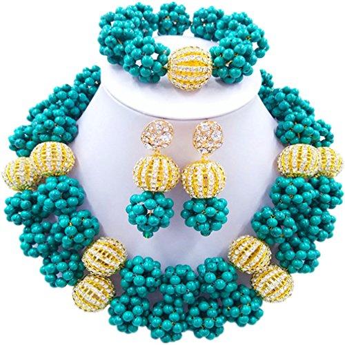 Laanc 2rows Rouge Collier de perles Turquoise et strass Doré du Nigeria africain Bijoux Femme Définit (Turquoise foncé et strass Doré)