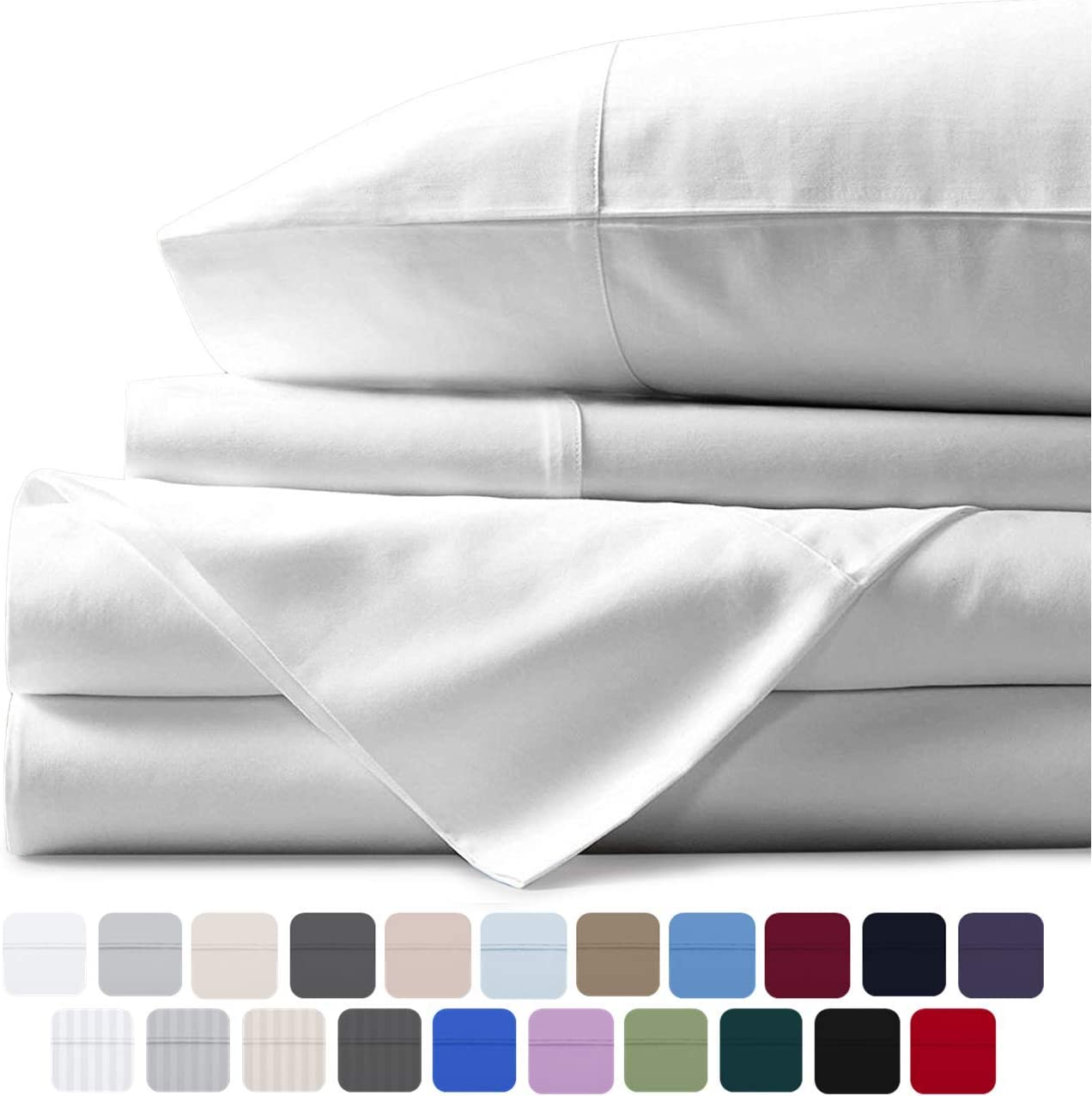 Mayfair Linen 100% Egyptian Cotton Sheets, White Queen 6 PC Sheets Set, 800 Thread Count Long Staple Cotton, Sateen Weave for Soft and Silky Feel, Fits Mattress Upto 18'' DEEP Pocket
