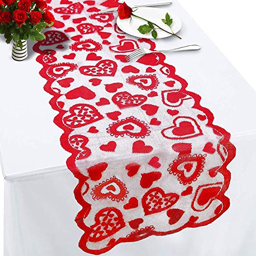 ANJIA Valentines Day Table Runner Decorations - 13x72Inch Home Wedding Party/Bridal Shower/Bachelorette Party/Mother's Day/Valentines Decorations Table Runner (Decorations Valentine Table)