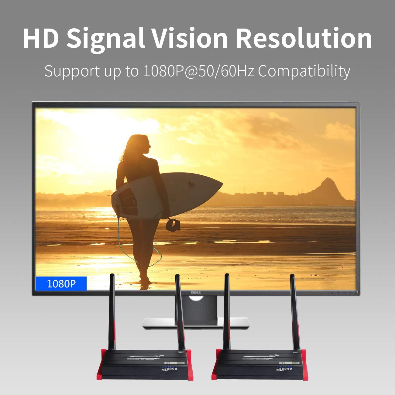 ShuOne Receptor de transmisor HDMI inal/ámbrico Receptor de 5 GHz 1080P 60 HZ Salida en Bucle Local con Control Remoto por Infrarrojos 196 pies (60 m)