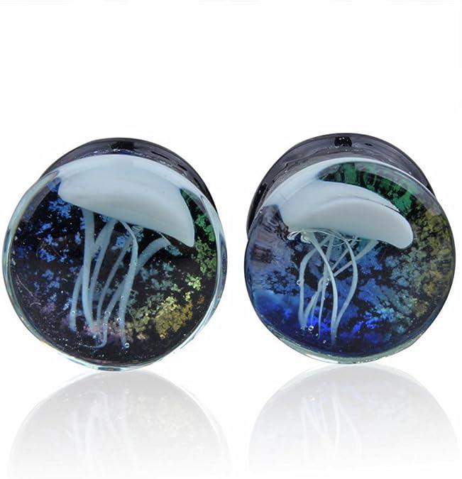 Pair Jellyfish Flesh Tunnels Glass Saddle Ring Gauges Piercing Ear Plugs