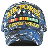 vietnam veteran cap - THE HAT DEPOT Official Licensed 3D Air Force Vietnam Veteran Ribbon Logo Cap (Blue Digital Camo-Air Force)